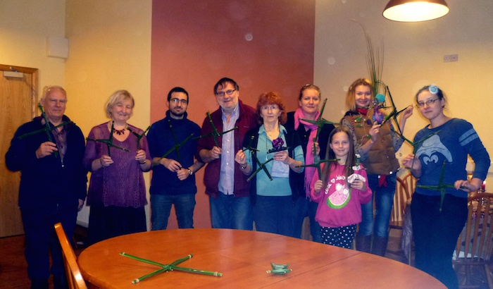 All the participants with their crosses after the workshop