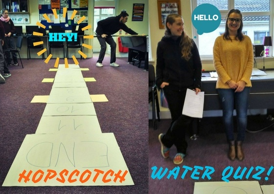 Informal learning: hopscotch water quiz!
