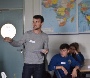 Jules explaining how solar energy works